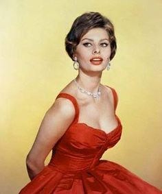 I love red dresses... nice up do to go with it too. #SophiaLoren