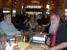 Santa and Elf at lunch incognito