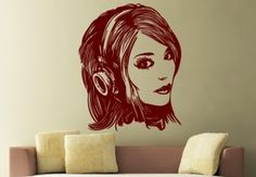 Girl with Headphones Wall Sticker - Awesome Interior Decor