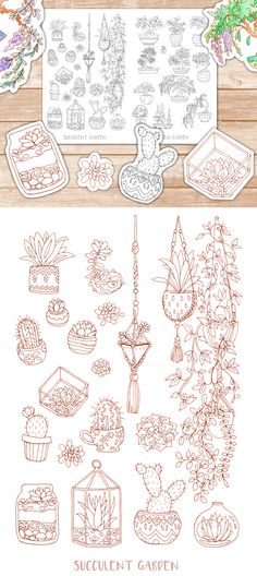 """Printable """"Succulent Garden"""" and """"Cactus Garden"""" coloring pages for adults. This hand-drawn cute coloring page full of succulents and cacti comes both as a sepia and gray version for even softer and more creative coloring sessions!  The doodle drawings can, printed on sticker paper, be turned into DIY coloring stickers for planners and journals.  Or use the coloring pages as planner inserts - or just for relaxation and your personal art therapy."""