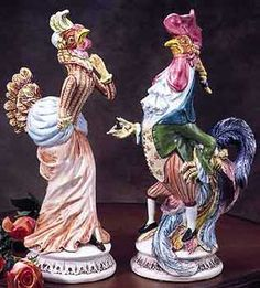 Porcelain Mr. & Mrs. Rooster Pair- Perfect For Your Provence Kitchen-Intrada, Italy, Porcelain, Mr & Mrs Rooster Dressed Up,