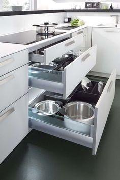 Modern Kitchen Interior Deft Space-Saving Kitchen Storage Solutions with Modern Flair - Modern Kitchen Cabinets, Kitchen Cabinet Design, Modern Kitchen Design, Interior Design Kitchen, Kitchen Storage, New Kitchen, Kitchen Decor, Kitchen Ideas, Awesome Kitchen