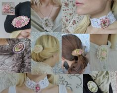 How to wear ribbon embroidered jewelry by Virvi on Etsy