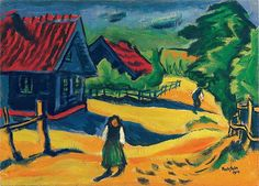 "Hermann Max Pechstein 							 							 							""CURONIAN HOUSES"". 1911 Oil on canvas.   							52.5 x 72.5 cm.   							Signed, dated, titled and inscribed.  							With an acknowledgment of Max K. Pechstein,   							the artist's son, Hamburg,   							from January 1992. -"