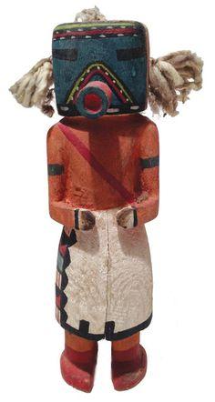 Qoia or Kau-a kachina tihu, Old type, Hopi. Colton 135 [jcx]. Characteristic inverted multicolor V over tube mouth and band of same color over forehead. Said to be an old time Navajo Kachina. said to be same as Kau-a, Colton 135.