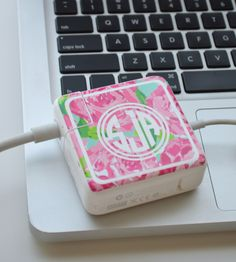 Lilly Pulitzer Vinyl Monogram MacBook Charger Wrap Decal by TheGatorbug on Etsy https://www.etsy.com/listing/229416232/lilly-pulitzer-vinyl-monogram-macbook