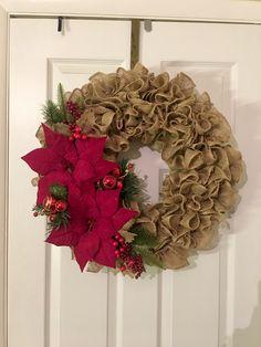 Christmas Burlap Poinsettia Wreath