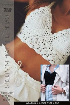 Crochet Top Patterns Inspiration and free patterns for tops, bras and bustiers - new ideas from DiaryofaCreativeFanatic Bralette Pattern, Crochet Bikini Pattern, Crochet Bikini Top, Crochet Patterns, Diy Crochet Bralette, Easy Patterns, Swimsuit Pattern, Crochet Shorts, Lace Shorts