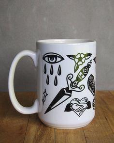 Tattoo flash coffee mug 15 ounce ceramic coffee cup with