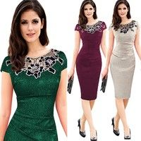 Wish | Women Vintage Button Tunic Bandage Formal Work Elegant Prom Evening Party Mermaid Midi Wiggle Bodycon Pencil Dress