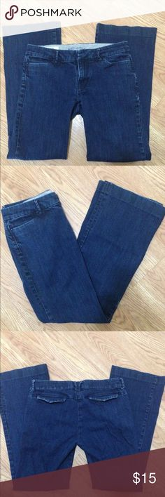 "Banana Republic trouser jeans Banana Republic classic trouser leg stretch jeans size 10. Measures 16"" across waist, with a 8"" rise, and a 30"" inseam. Very flattering jeans! Great condition. Banana Republic Jeans Flare & Wide Leg"