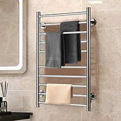Amazon.com: BestComfort Wall Mounted Heated Towel Warmer, 10 Bars Stainless Steel Polished Towel Warmer Drying Rack: Home & Kitchen Heated Drying Rack, Heated Towel Bar, Towel Heater, Towel Organization, Towel Storage, Sans Serif, Towel Warmer Rack, Warm Bathroom, Bathroom Ideas