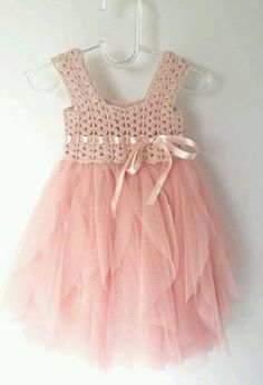 16d00526857 Items similar to Blush Pink Baby Tulle Dress with Empire Waist and Stretch  Crochet Top.Tulle dress for girls with lacy crochet bodice. on Etsy