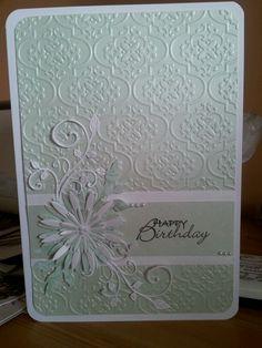 card using spellbinders aster dies, creative expressions embossing folder and cherry lynn flourish die