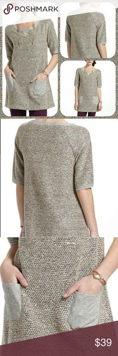 "Anthropologie Nubby Boucle Tunic Subtle, shimmery tunic with soft grey pockets. By Meadow Rue. Cotton. 31"" L.  Size small. Excellent condition! Anthropologie Tops Tunics"