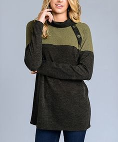 Another great find on #zulily! Olive Button-Accent Cowl Neck Tunic #zulilyfinds