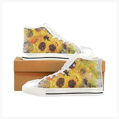 Custom Splashing Sunflowers Painting High Top Canvas Women's Shoes 6US (*Partner Link)