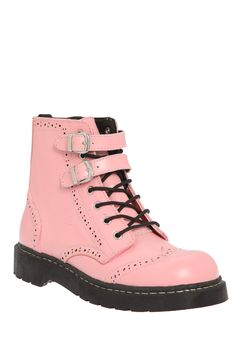 A little edge with a lot of style, this pink leather boot boasts twin buckle accents, brogue punch and wingtip details, a capped toe and side zip closure. The black sole has an Anarchic logo tread.
