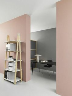 office or living room paint colors, pastel pink and gray walls, off-white floor and white ceiling, minimalist wooden furniture Gray Painted Walls, Pink Walls, Grey Walls, Room Paint Colors, Paint Colors For Living Room, Room Interior, Interior Design Living Room, Interior Colors, Interior Paint
