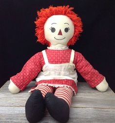 Large Raggedy Ann Doll Vintage Raggedy Anne Homemade Cloth