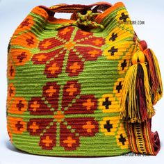 Cabo Wayuu Mochila bags are intricate in their designs, can take approximately 15 days to weave. Handmade in South America by the indigenous Wayuu people. Crochet Chart, Knit Crochet, Crochet Patterns, Crochet Home, Tapestry Bag, Tapestry Crochet, Mochila Crochet, Crochet Purses, Knitting Accessories