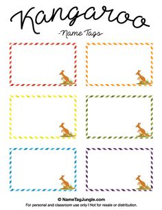 Free printable kangaroo name tags. The template can also be used for creating items like labels and place cards. Download the PDF at http://nametagjungle.com/name-tag/kangaroo/