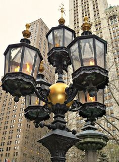 NYC. Gas lamps in City Hall Park, Lower Manhattan.