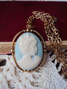 Vintage Cameo Long Necklace French 'Something Blue' Pendant :: pride & prejudice wedding