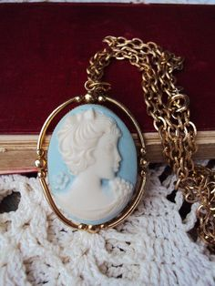 Vintage Cameo Long Necklace French 'Something Blue' Pendant :: pride & prejudice wedding