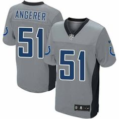 $129.99 Nike Elite Men's Indianapolis Colts #51 Pat Angerer Grey Shadow NFL Jersey