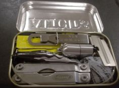 Personal Survival Kit in an altoid tin - this is from a forum, and had a contest, so there are lots of people's ideas for what to put in a tiny PSK.