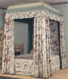 The bed that you see once belonged to the fashionable 18th-century British actor, David Garrick, and his wife.  The Garricks were at the forefront of 18th-century fashion, and they, like so many other wealthy Europeans of the day, took a shining to chintz, using the fabric for bed hangings and a cover on their beautiful Thomas Chippendale-designed bed.