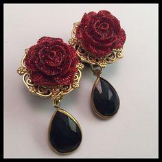 Red Glitter Rose - Black Teardrop / Love Kills Boutique Inc. Glitter Roses, Red Glitter, Black Acrylics, Paint Set, Long Tops, Black Gold, Plugs, Tatting, Piercings