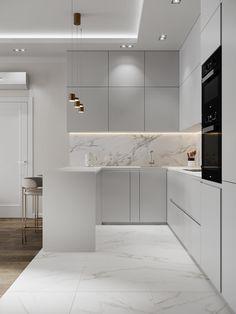 Apartment in Moscow on Behance Kitchen Room Design, Luxury Kitchen Design, Home Decor Kitchen, Modern House Design, Interior Design Kitchen, Luxury Kitchens, Tuscan Kitchens, Small Apartment Interior Design, Kitchen Ideas