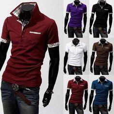 Turn-down Plaid Collar Short Sleeve Trendy Series Men Shirt