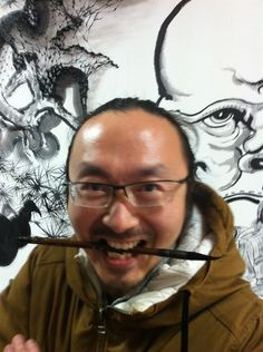 Restaurant wall painting Ghosts and monsters Black and white ink Zhu jingyi 朱敬一 Shanghai,China  微网址:www.zhujingyiart.com