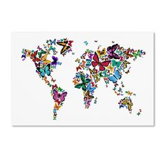 Butterflies Map of the World by Michael Tompsett Graphic Art Gallery Wrapped on Canvas
