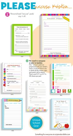 What's your excuse? Whenever you have a change in your child's schedule, or when you need to send a quick note to the school teacher, our personalized notepads for parents make it easy.