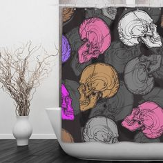 "Skull Shower Curtain with Modern Color Scheme These curtains measure 69"" x 70"" or 70"" x 90"" and are 100% polyester. I print your custom image right onto the fabric using a process that is soft to the                                                                                                                                                      More"
