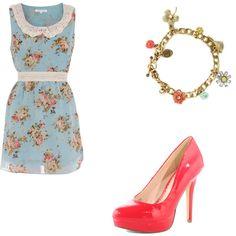 Vintage blue with lace a floral print, Juicy Couture charm bracelet, coral heels.