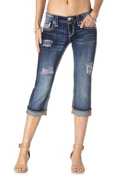 b98c191f724b Rock Revival Carrieya American Flag Stars   Stripes Capris – The Grapevine  Boutique