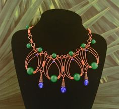 Copper Necklace With Vintage Green Peking Glass & Cobalt Blue Glass Beads by MysticMetalDesigns