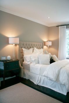 Bedroom wall color is Pashmina from Benjamin Moore.