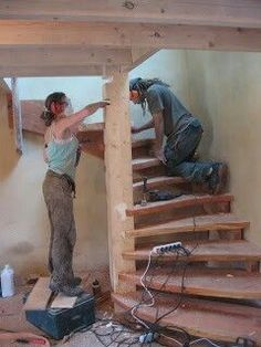 New Building Stairs To Attic Basements 64 Ideas Rustic Stairs, Wooden Stairs, Loft Stairs, House Stairs, Spiral Staircase, Staircase Design, House Construction Plan, Building Stairs, Woodworking Plans