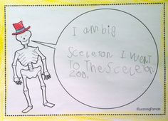 Skeleton writing activity based on the picture book Funnybones by Janet and Allan Ahlberg. Great story and activity for Hallowe'en in kindergarten! Part of the book companion created by Learning Parade. Phonics Activities, Writing Activities, Book Study, Writing A Book, Literacy Year 1, All About Me Eyfs, Bone Books, People Who Help Us, Story Sack