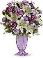 Teleflora Lavender Love Vase - Lavender Glass Pedestal Vase - - New