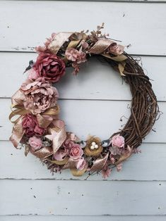 Three Bird Wreath with pink and mauve color flowers along with rose gold ribbon Wreath Ideas, Diy Wreath, Grapevine Wreath, Rose Gold Ribbon, Gold Ribbons, Gold And Burgundy Wedding, Pink And Gold, Diy Spring Wreath, Fall Wreaths