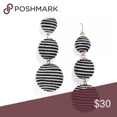 JCrew Striped Black and White Bon Bon Earrings JCrew striped black and white Bon Bon thread wrapped Statement earrings. Brand new without tags, never been worn J. Crew Jewelry Earrings