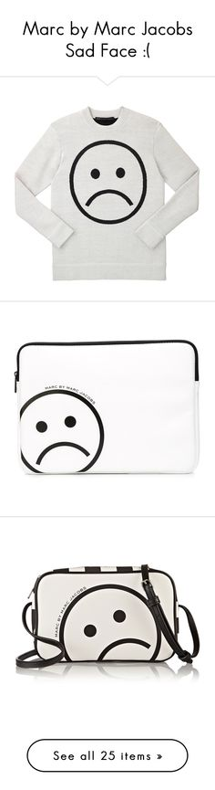 """""""Marc by Marc Jacobs Sad Face :("""" by chathurika-gamage ❤ liked on Polyvore featuring tops, sweaters, white crew neck sweater, cotton crewneck sweater, white long sleeve sweater, long sleeve tops, white top, accessories, tech accessories and bags"""