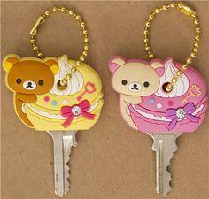 Rilakkuma bear key cover charm macaroon